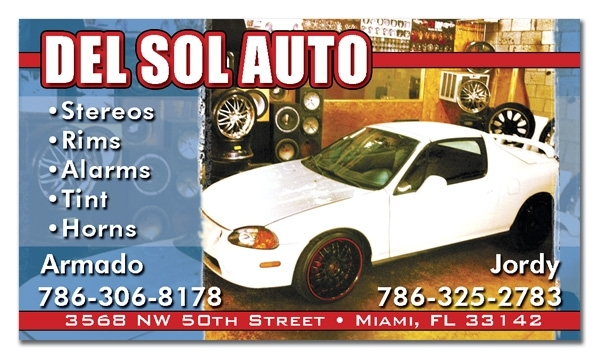 Del Sol Auto Business Cards