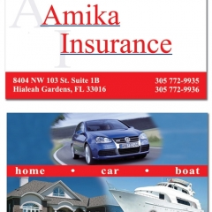 Amika Insurance Business Cards