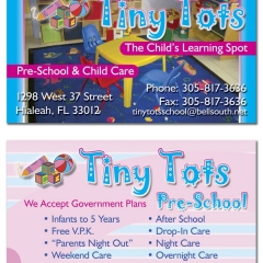 Tiny Tots Preschool Business Cards